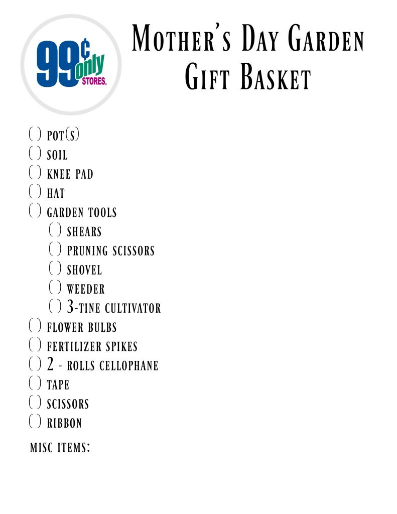 99 Cents Only Mother's Day Garden Gift Basket Shopping List