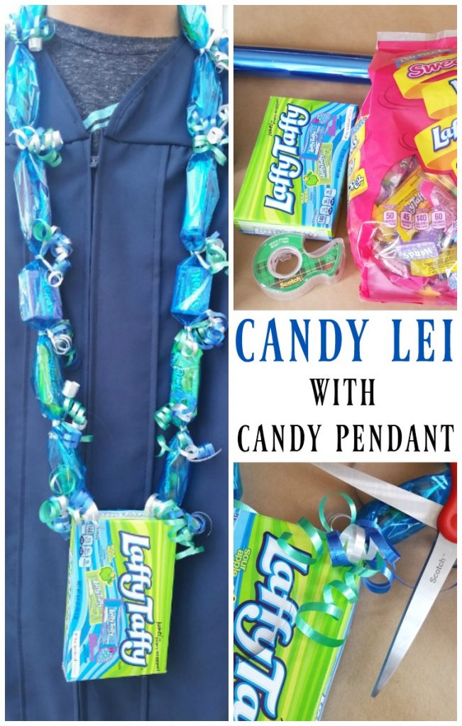 Affordable and easy DIY candy lei with candy box pendant. How to make a candy lei to gift at graduation.