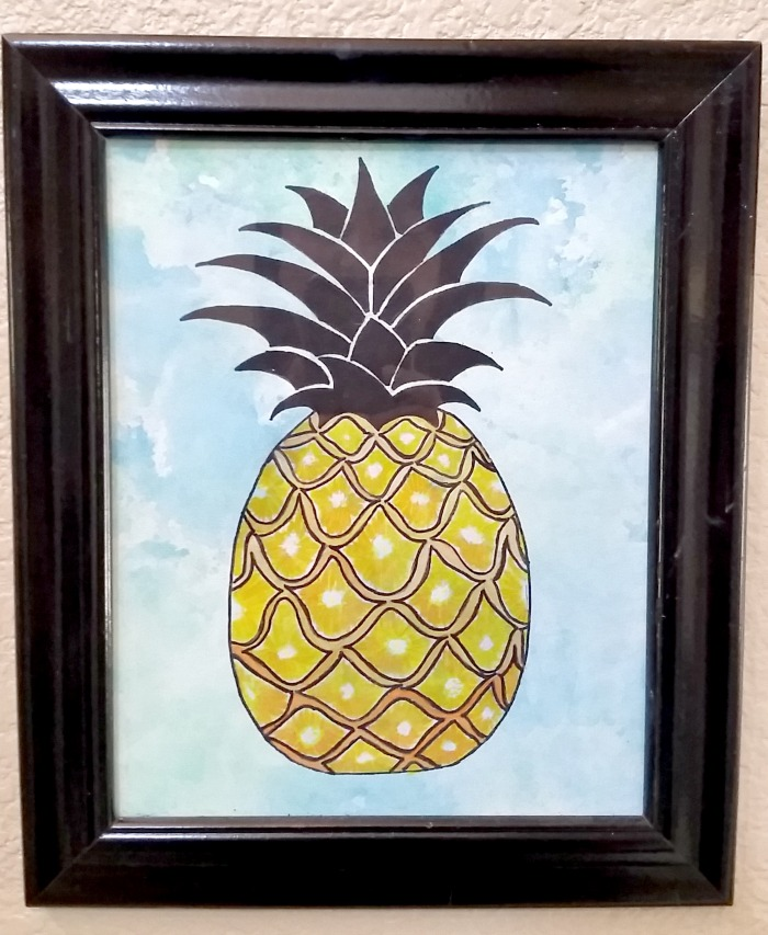 Summer Sea watercolor art pineapple