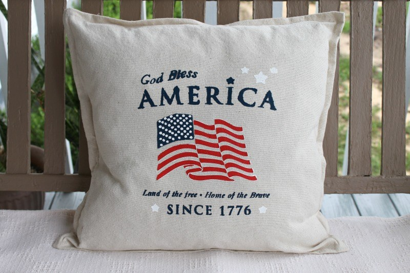 DIY Stenciled Americana Drop Cloth Pillow