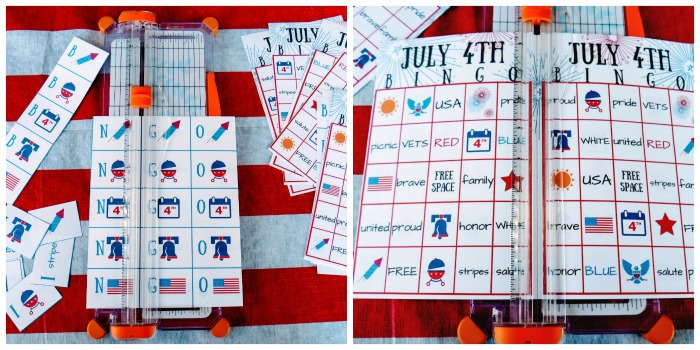 Cut out the July 4th BINGO printable. Cut out the cards and the call cards.