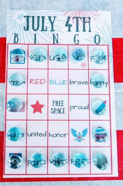 July 4th BINGO printable square play