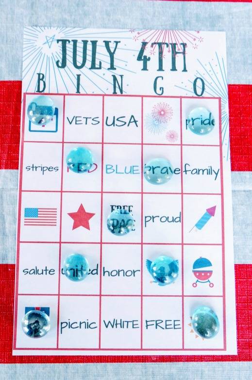 July 4th BINGO printable x-game