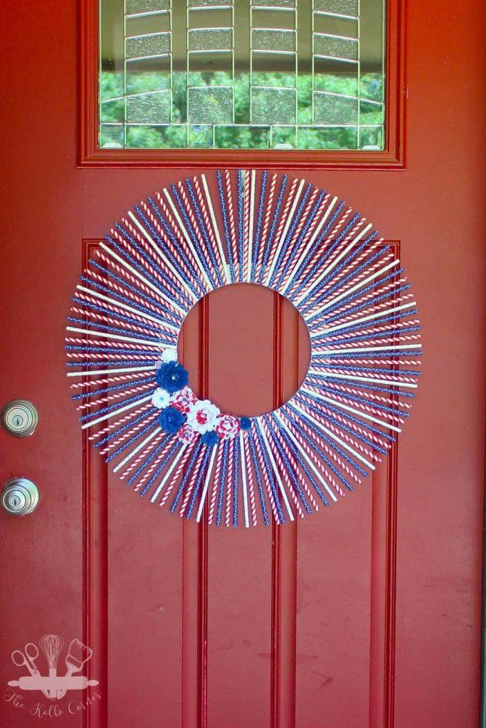 Patriotic Straw Wreath