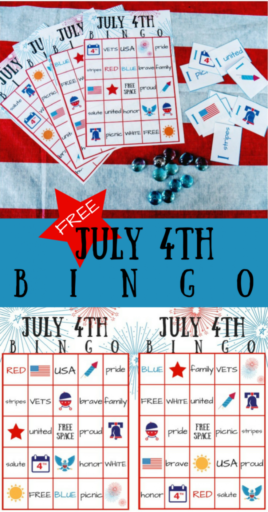 Free July 4th BINGO printable party game for kids and adults! Easy fourth of July party entertainment and activity. Fun family game!