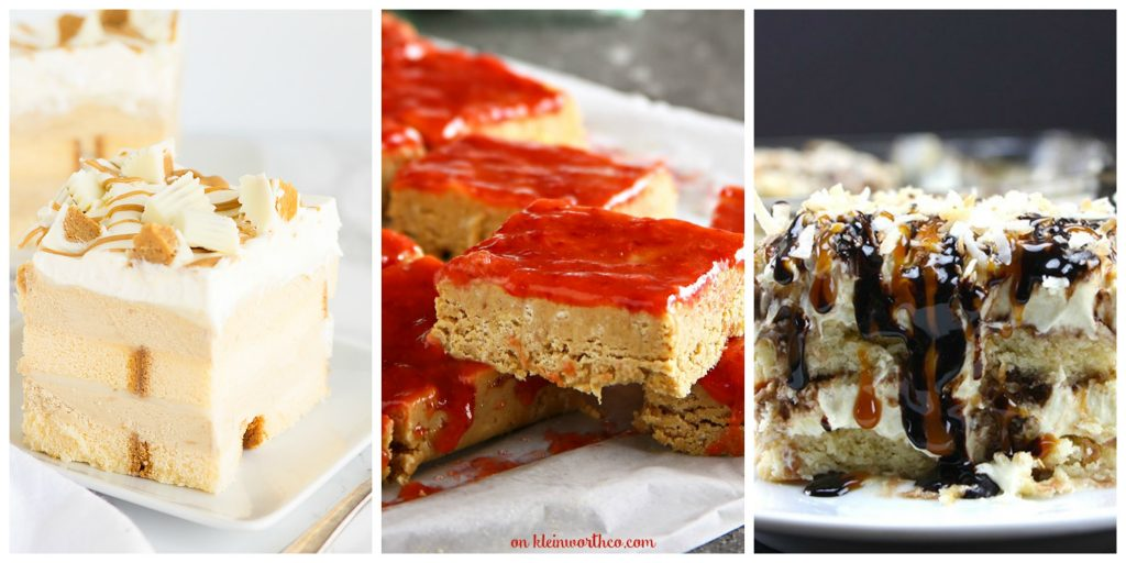 12 Must Try No Bake Desserts- white chocolate peanut butter desserts, peanut butter jelly bars, and samoa cake