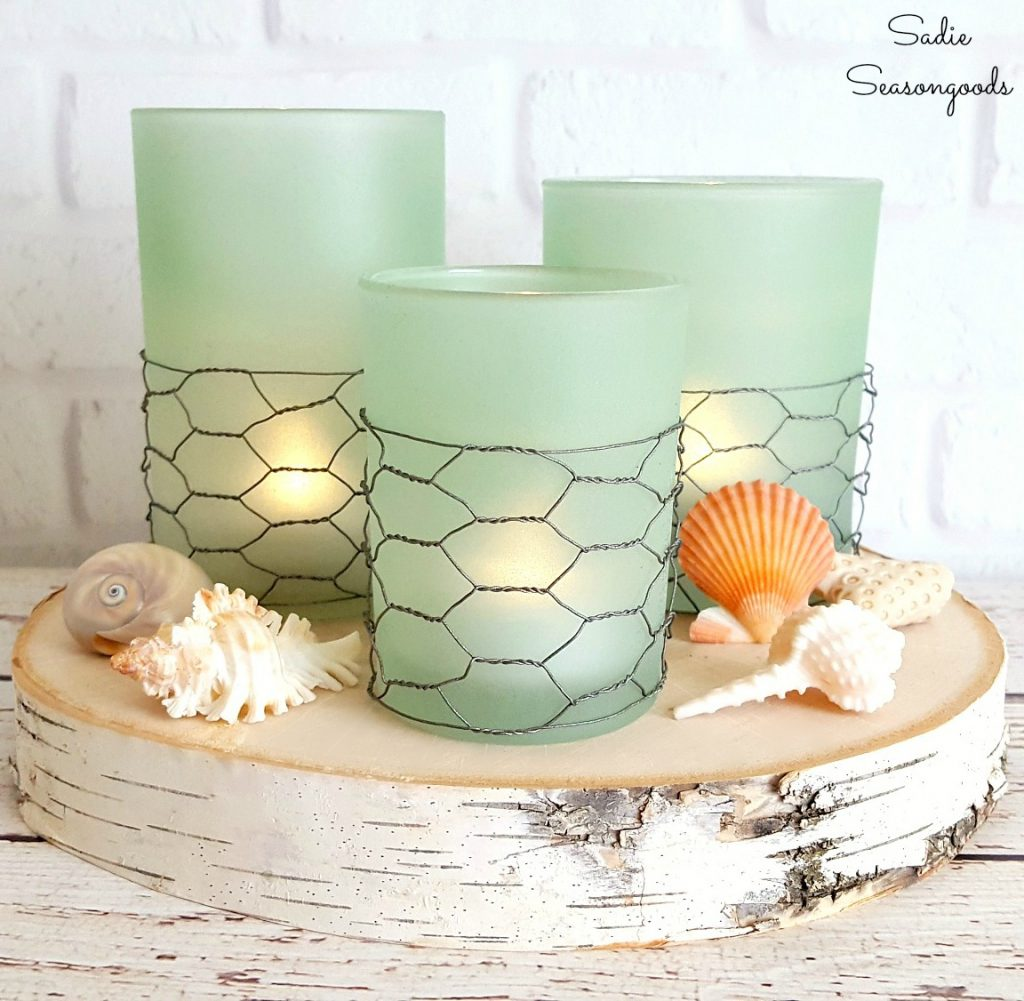 DIY Coastal Farmhouse Seaglass Candle