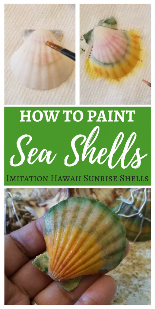 How to paint sea shells - DIY Painted Sea Shells to look like imitation Hawaii sunrise shells
