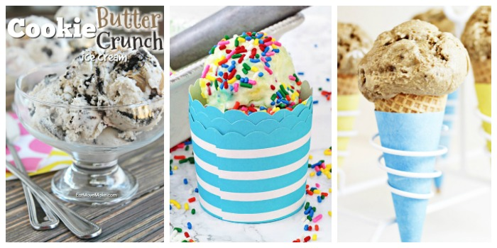 ice cream recipes - cookie butter crunch, birthday cake, toasted marshmallow ice cream recipes
