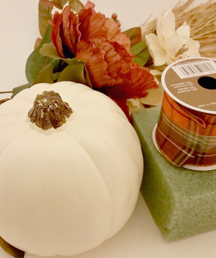 Fall pumpkin floral arrangement supplies