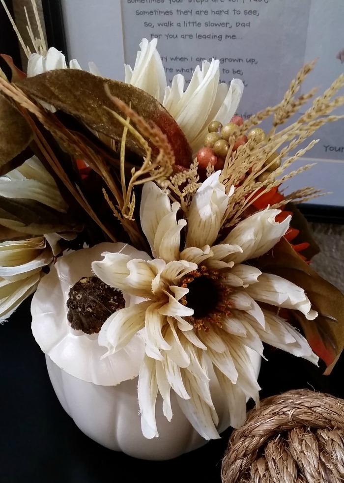 back of fall pumpkin floral arrangement