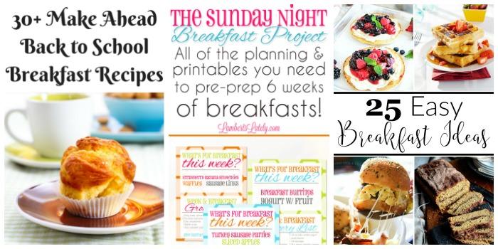 Helpful Back to School Ideas for Parents - Make ahead breakfasts, breakfast planner, easy breakfast ideas