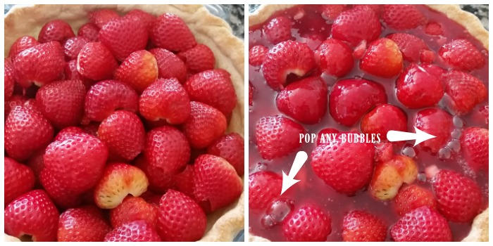 Fill the fresh strawberry pie