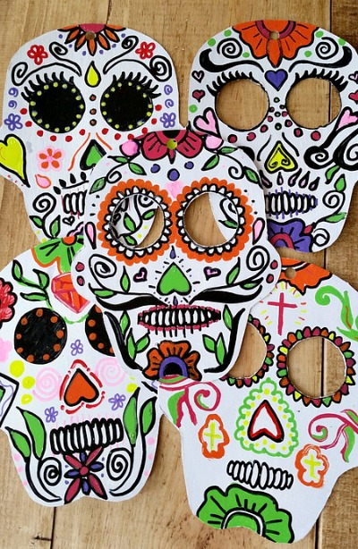 Sugar Skull Masks from Recycled Boxes