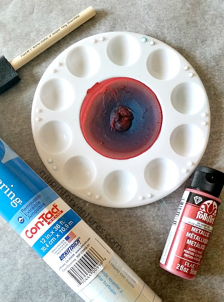 red paint and dish liquid