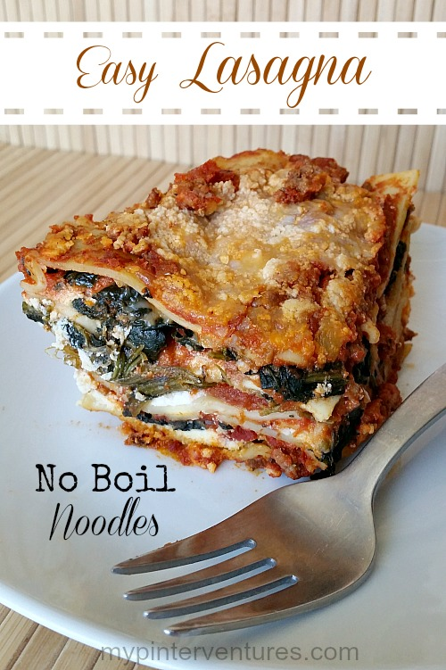Save time with this no boil noodles lasagna