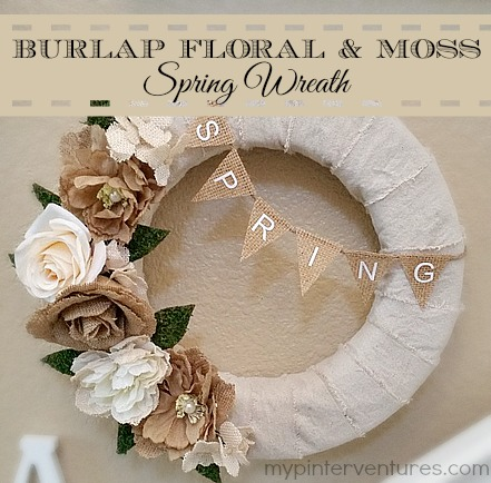 Burlap Flowers and Moss Spring Wreath