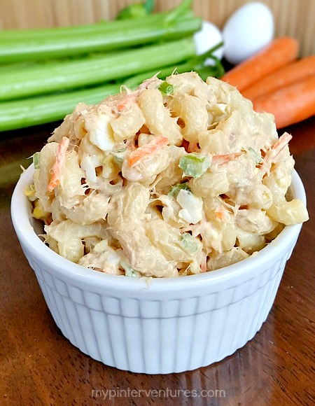 Hawaiian style loaded tuna macaroni salad my pinterventures for Macaroni salad with tuna fish