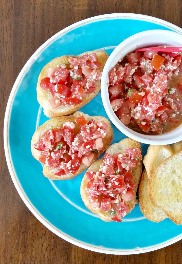 Bruschetta with tomato and Asiago Parmesan Cheese