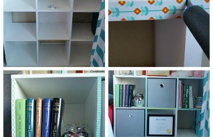 washi tape shelf decorated