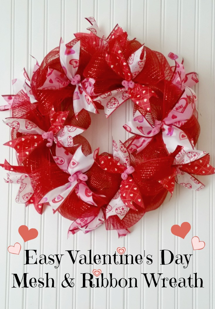 Easy Mesh Amp Ribbon Valentine S Day Wreath