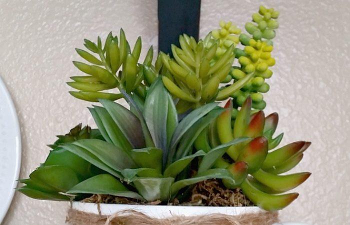 Faux Succulent Mug Planter