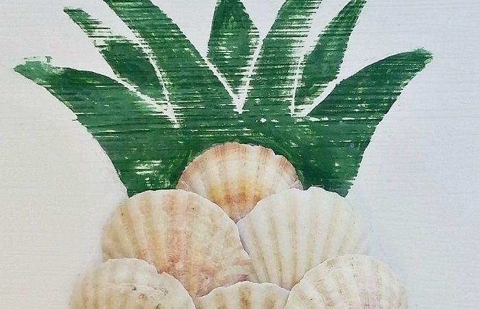 Thrift Store Upcycle – DIY Aloha Seashell Pineapple Sign