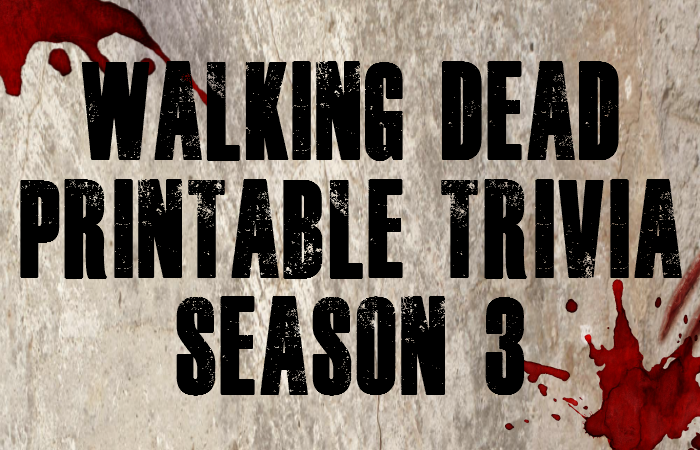 Walking Dead Trivia Printable – Season 3 Memory Test