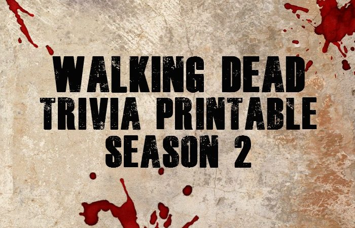 Walking Dead Trivia Printable - Season 2
