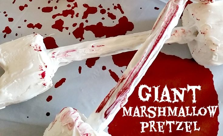 Halloween Food – Giant Marshmallow Pretzel Bone Dessert