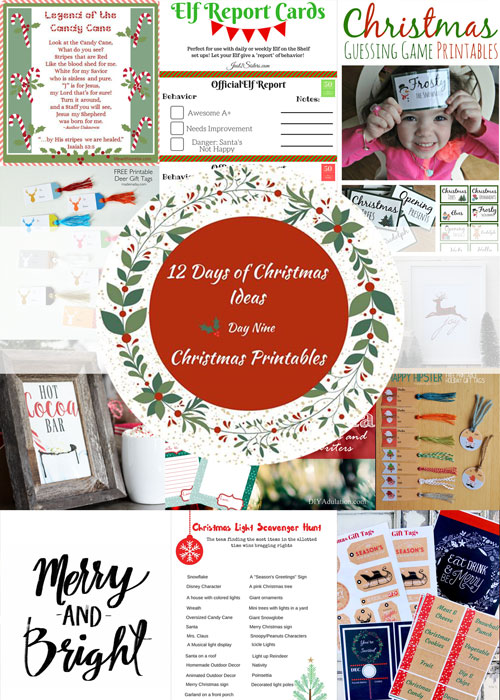 12 Days of Christmas Printables - party games, tags, and art printables.