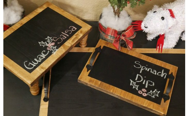 Simple Holiday Snack Bar & DIY Chalkboard Serving Trays