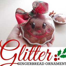 Glitter Gingerbread Ornaments – Clear Plastic Ornament Makeover
