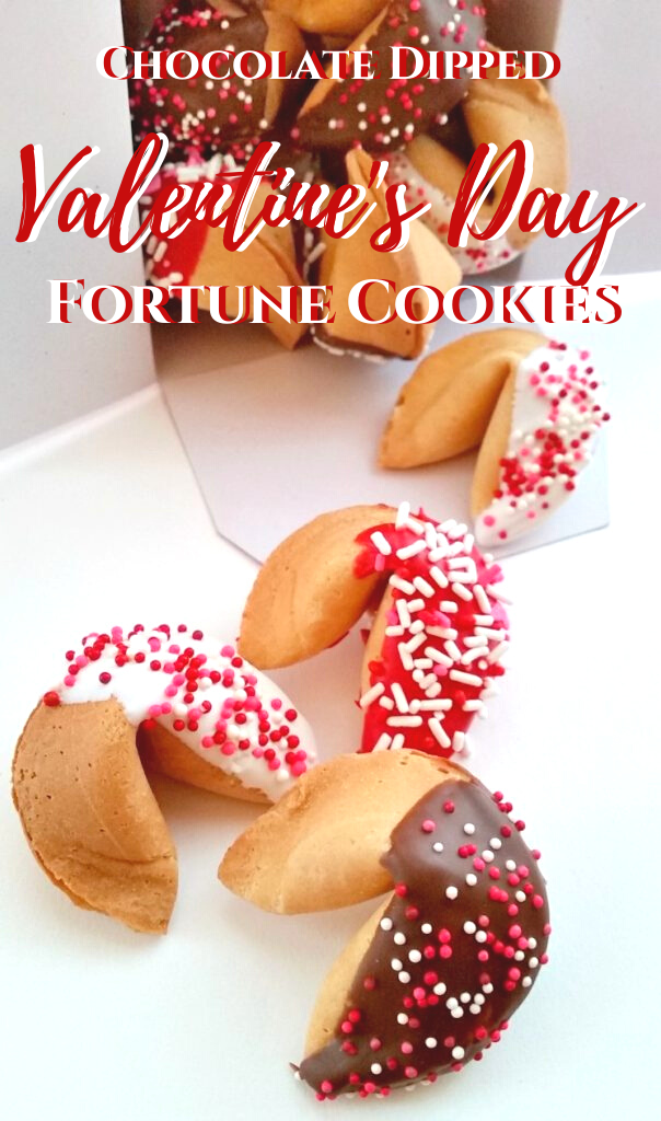 Chocolate Dipped Valentine's Day Fortune Cookies