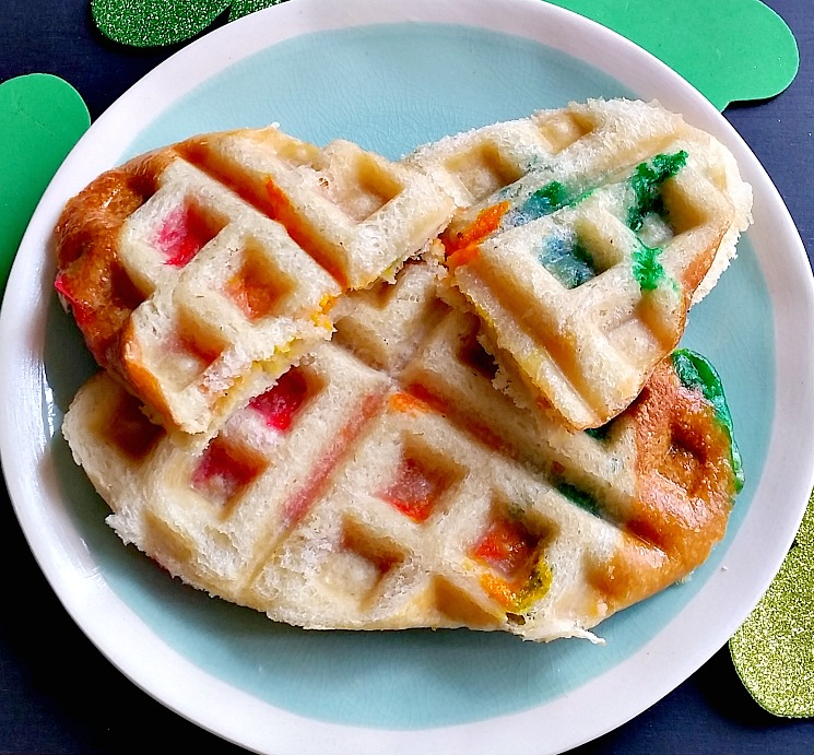 Rainbow Grilled Cheese Waffleich on plate