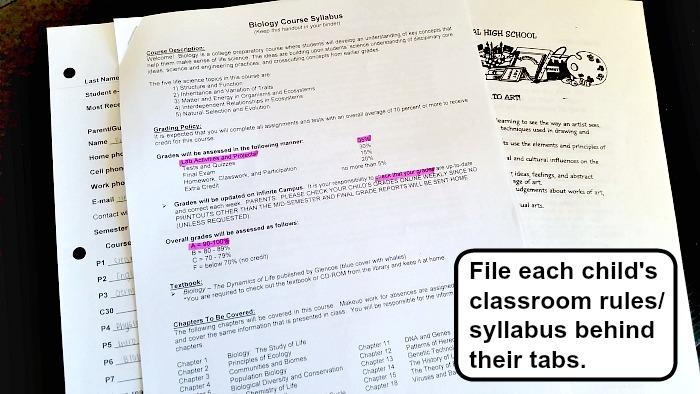 school paperwork