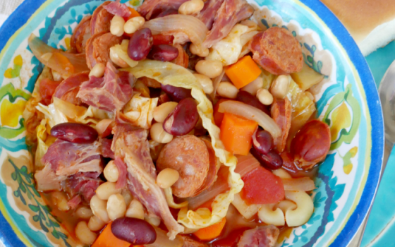 Portuguese Bean Soup with Smoked Ham Hock & Linguica