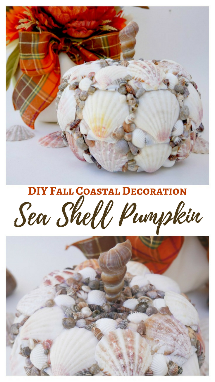 Seashell Pumpkin - DIY Fall Coastal Decoration