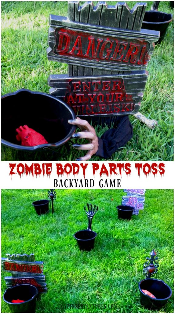 Zombie body parts toss game - backyard Halloween game