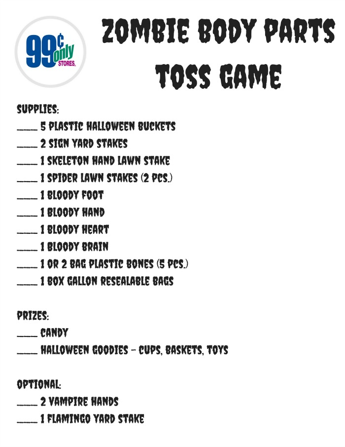 Zombie Body Parts Toss Game Printable