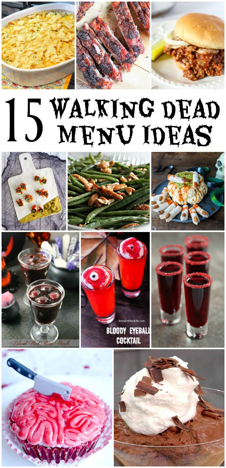 15 Walking Dead Menu Ideas - main dishes, sides, drinks, and dessert ideas