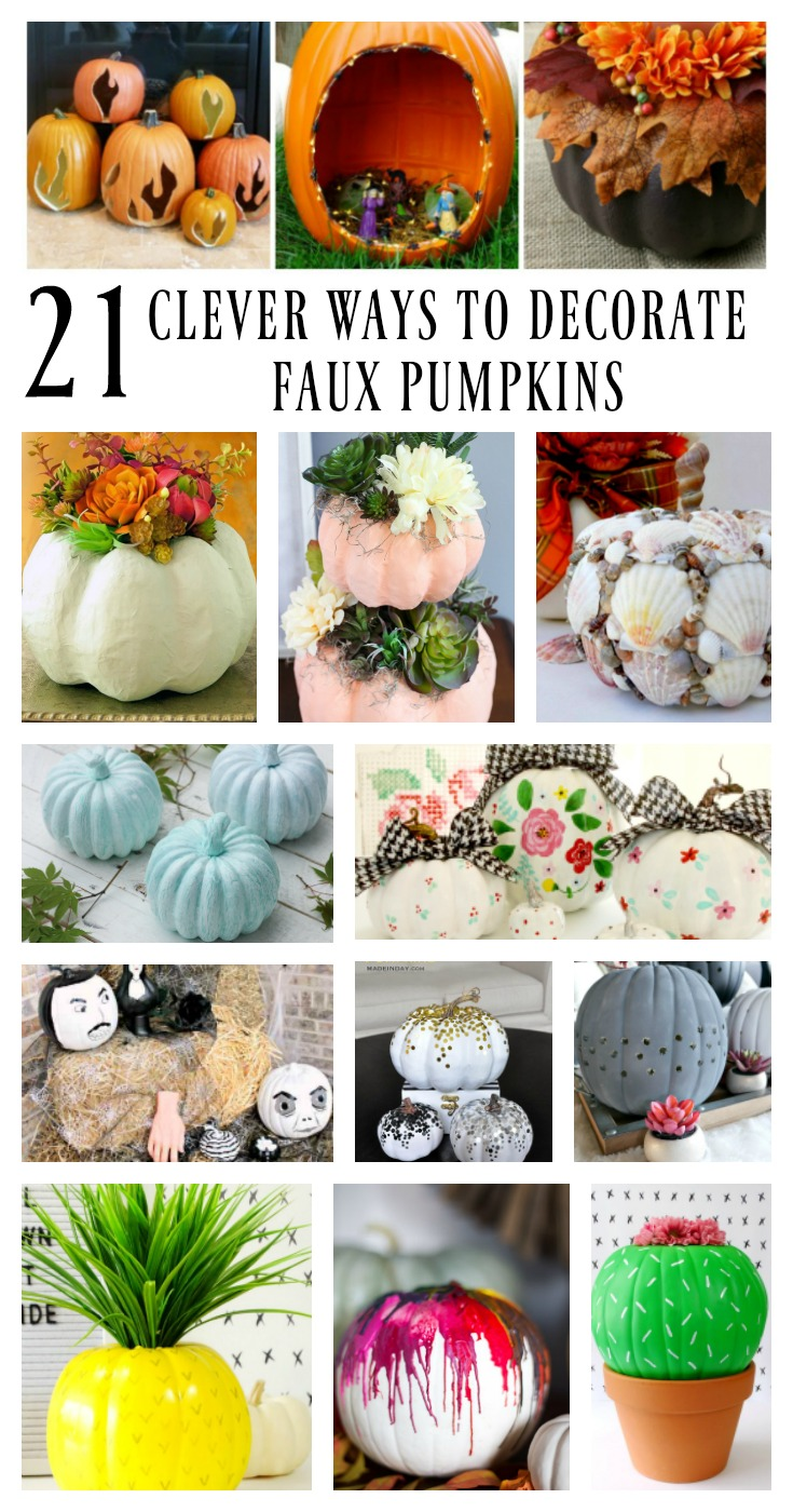 21 Clever Ways to Decorate Faux Pumpkins with paint, flowers, shells, crayons, and more.