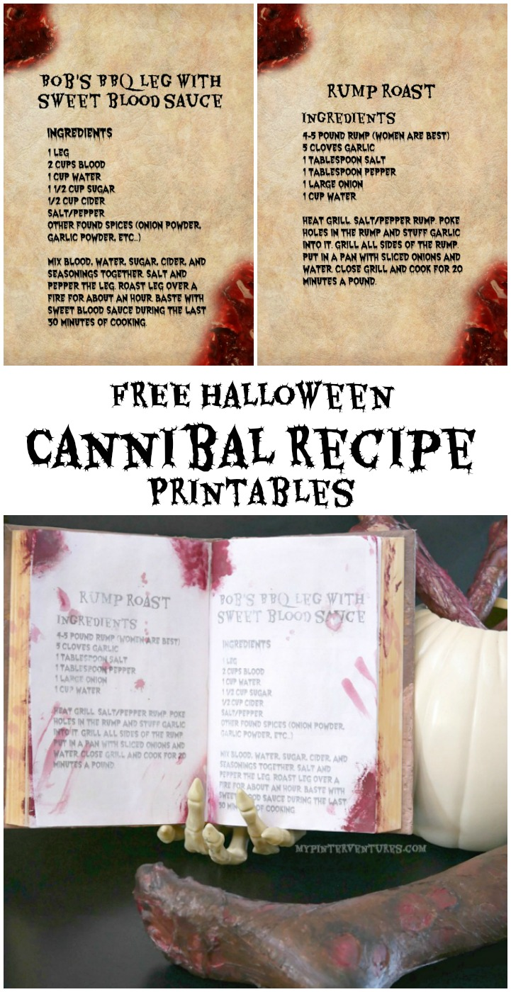 FREE Halloween Cannibal Recipe Printables. Great for zombie, cannibal, or Walking Dead party decor. #Halloween #spooky #party