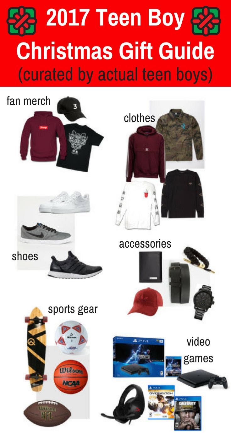 2017 Teen Boy Christmas Gift Guide - fan merch, clothes, shoes, video games, and more! #giftguide #Christmas #teenager