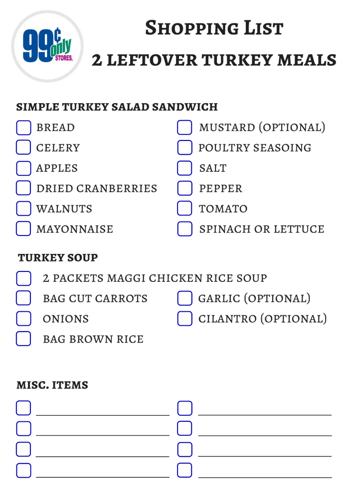 Turkey salad sandwiches shopping list