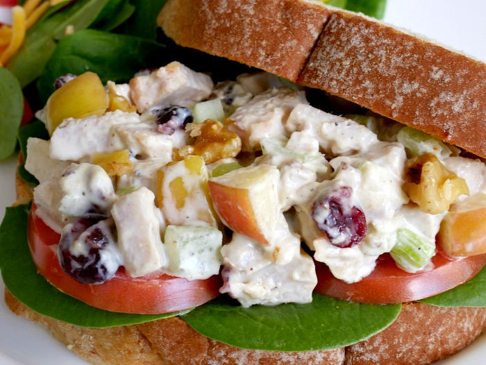 Finished simple turkey salad sandwiches