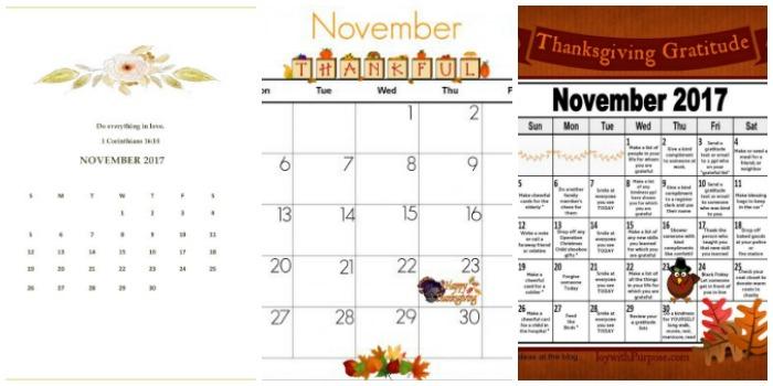 free fall printables - calendars
