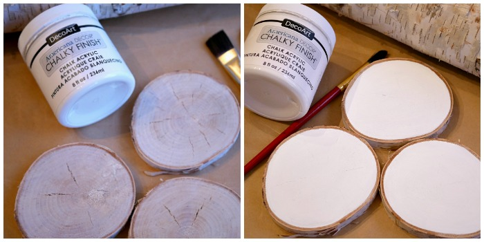 Painted Wood Slices for Snowman Wood Slice Ornament