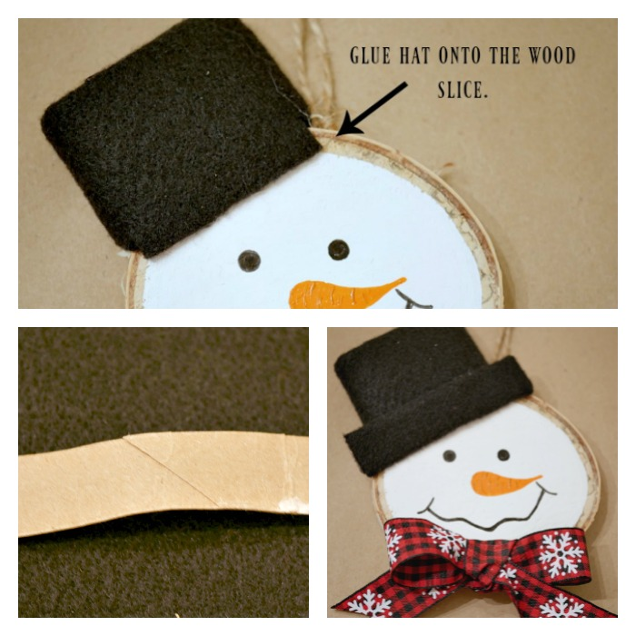 Snowman wood slice ornament hat