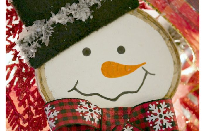 Snowman Wood Slice Ornament